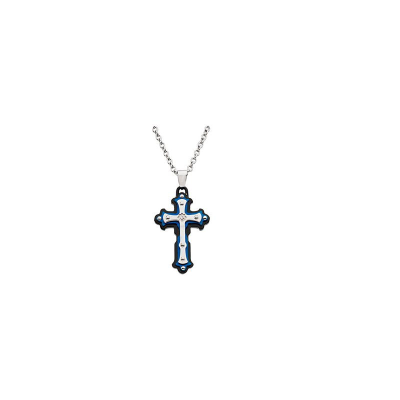 """Holiday Ideas Ion Plated Diamond Cross on an 18"""" Cable Chain"""