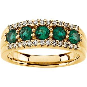 Emerald And Diamond Band Ring