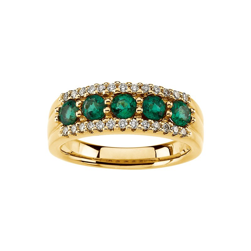 Susan Eisen Emerald And Diamond Band Ring