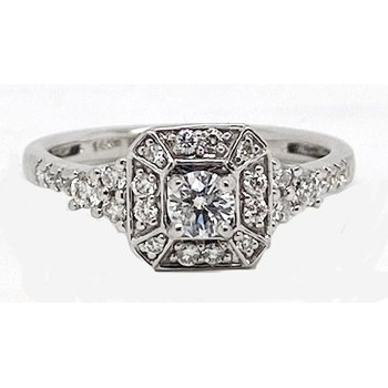 Diamond and White Gold, Vintage Style Ring