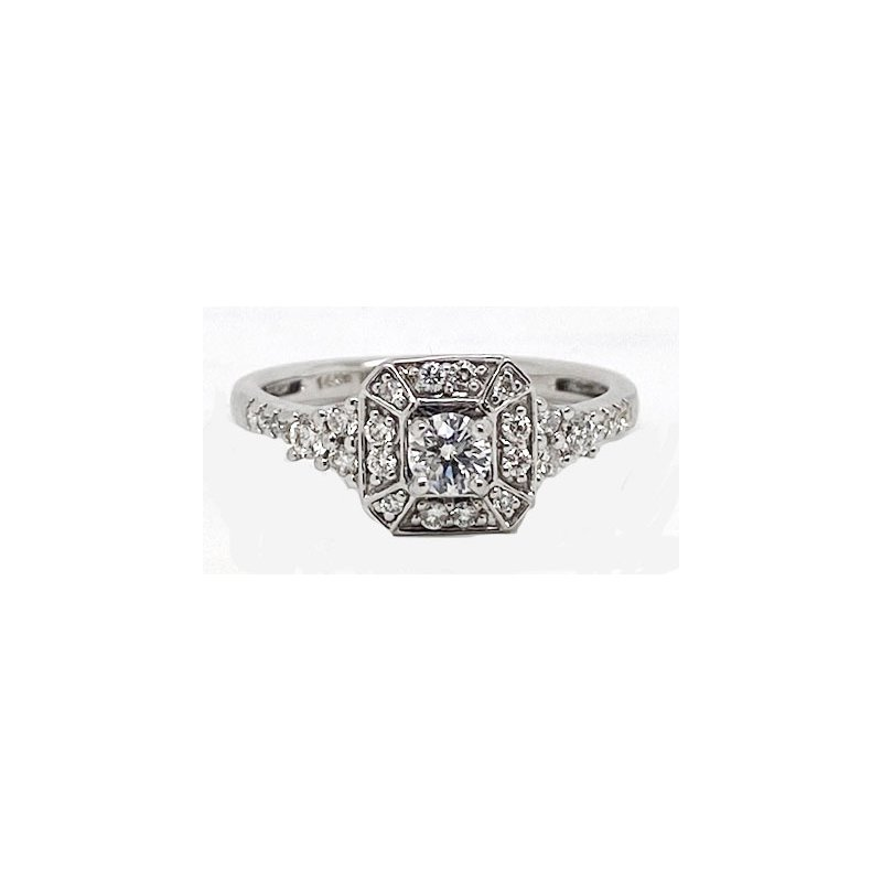 Vintage Bridal Diamond and White Gold, Vintage Style Ring