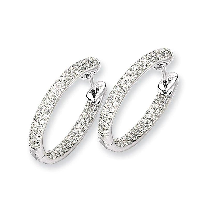 Susan Eisen 14k White Gold Diamond In-Out Hinged Hoop Earrings