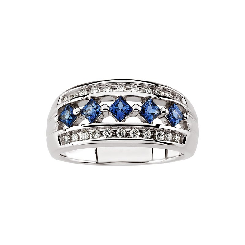 Susan Eisen Sapphire & Diamond Wedding Band