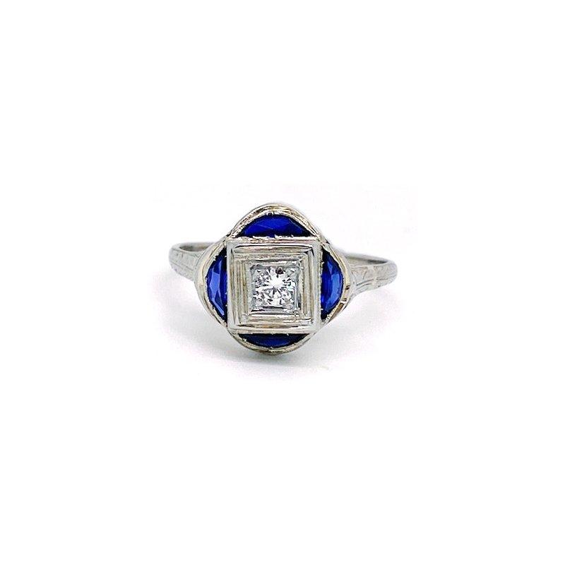Estate & Vintage Vintage, Art Deco design, diamond and sapphire engagement ring