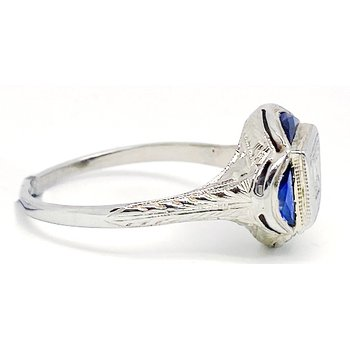 Vintage, Art Deco design, diamond and sapphire engagement ring