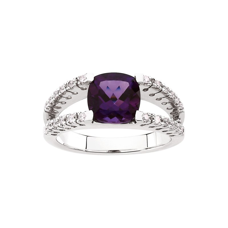 Ladies' Jewelry Genuine Amethyst & Diamond Ring
