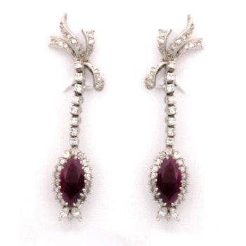 14K Ruby Dangle Earrings with Diamonds
