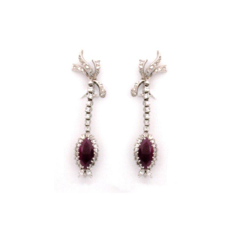 Estate & Vintage 14K Ruby Dangle Earrings with Diamonds