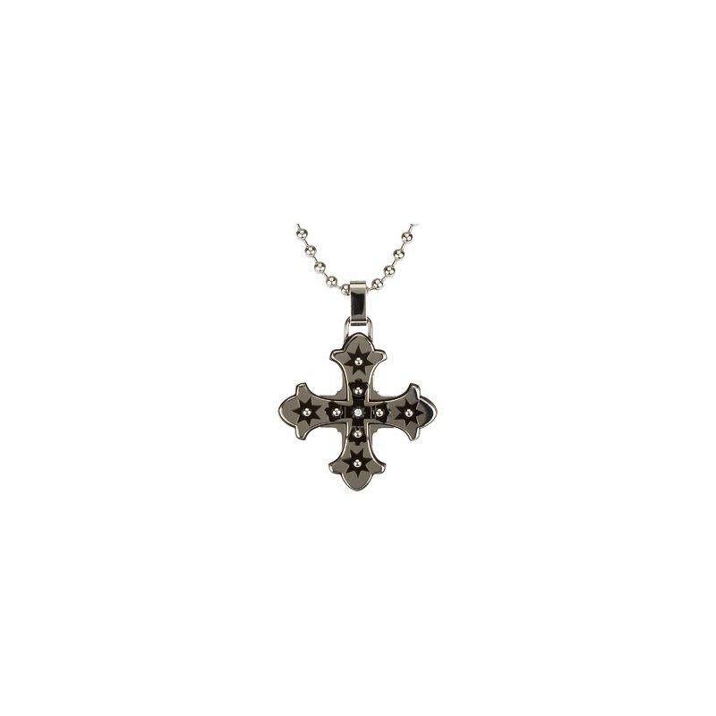 Holiday Ideas Ion Plated Diamond Cross with 30 inch Bead Chain