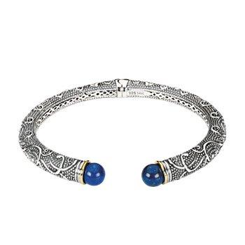 Genuine Lapis Hinged Cuff Bracelet