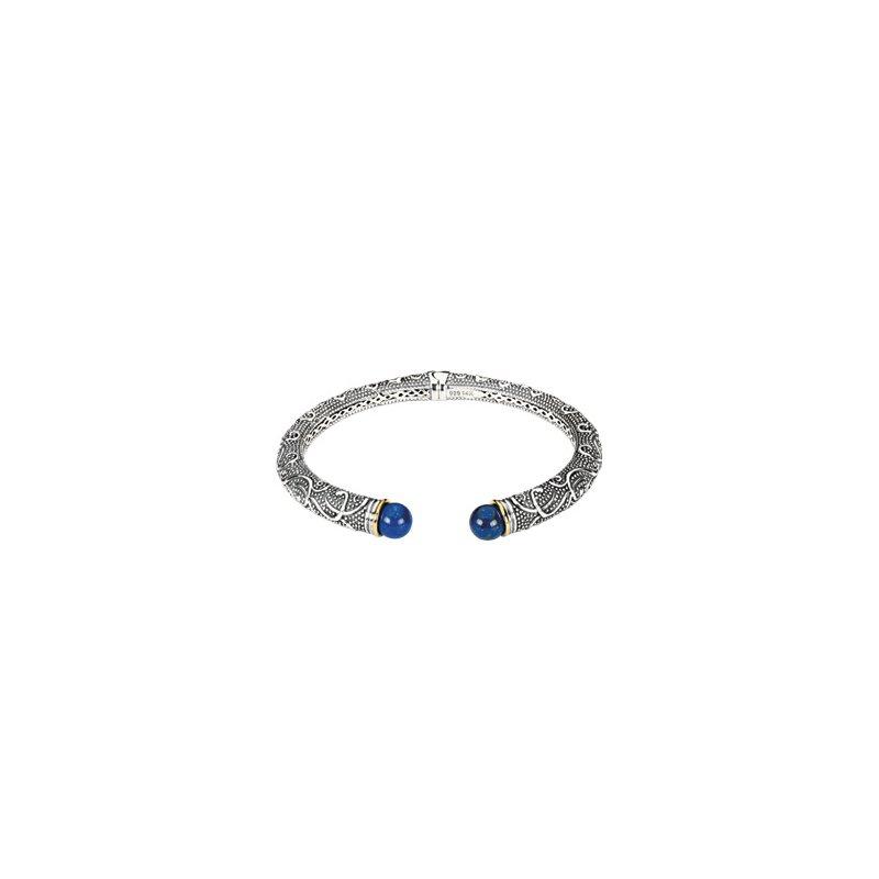 Ladies' Jewelry Genuine Lapis Hinged Cuff Bracelet