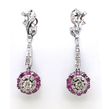Lady's vintage Mexican white gold, diamond and ruby dangle earrings with omega backs