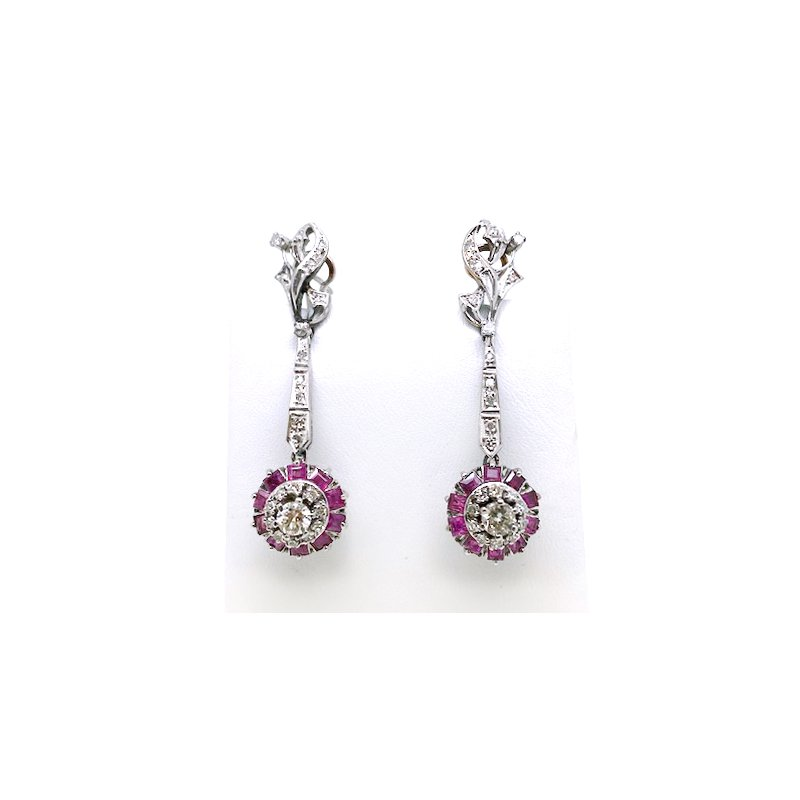 Estate & Vintage Lady's vintage Mexican white gold, diamond and ruby dangle earrings with omega backs