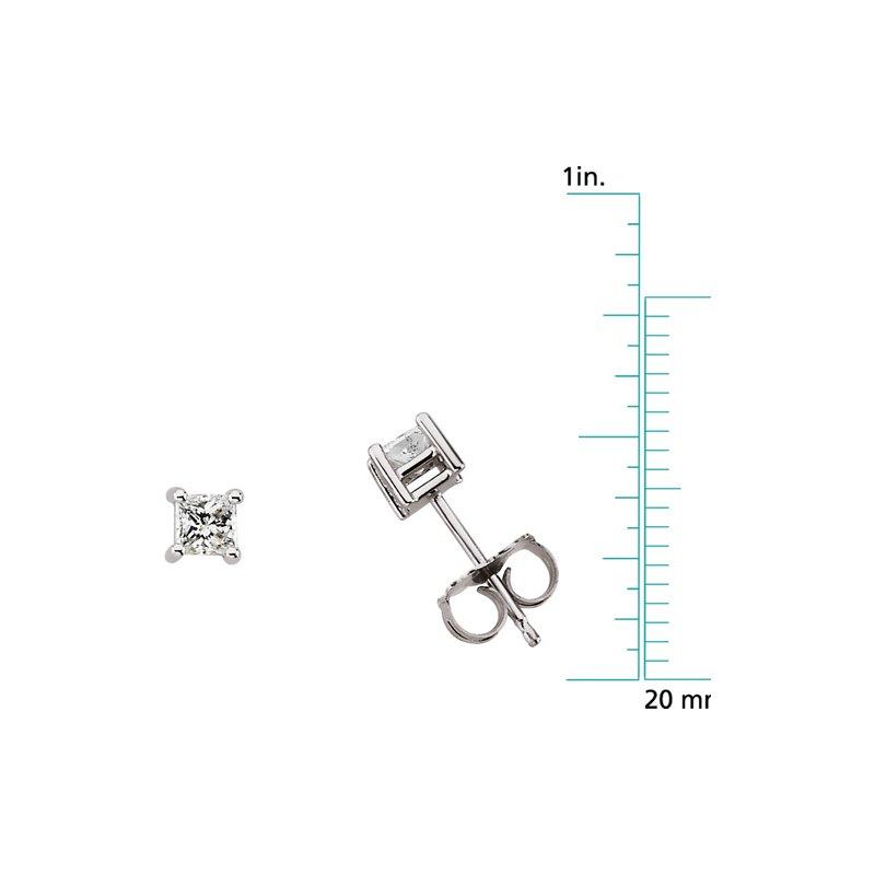 Ladies' Jewelry Princess-Cut Diamond Stud Earrings