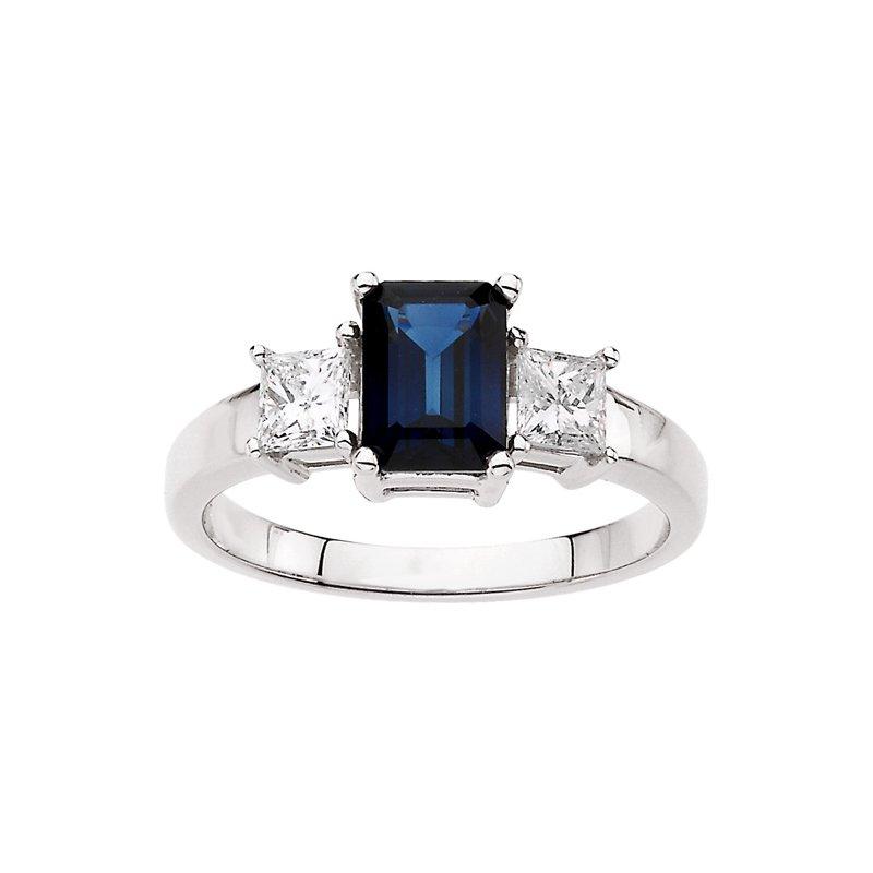 Ladies' Jewelry Genuine Blue Sapphire & Diamond Ring