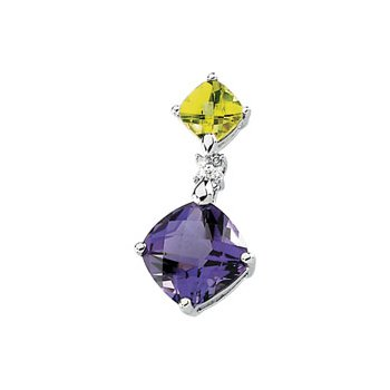 Genuine Multicolor Gemstone & Diamond Pendant