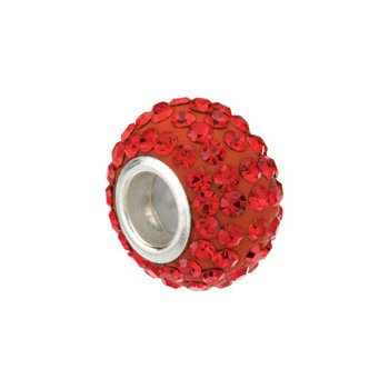 Kera Roundel Bead with Pav? Red Crystals