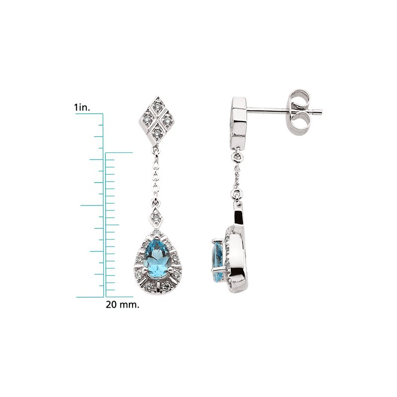Ladies' Jewelry Genuine Aquamarine & Diamond Earrings