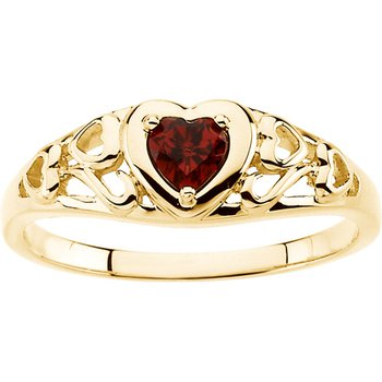 Genuine Heart-Shape Mozambique Garnet Ring