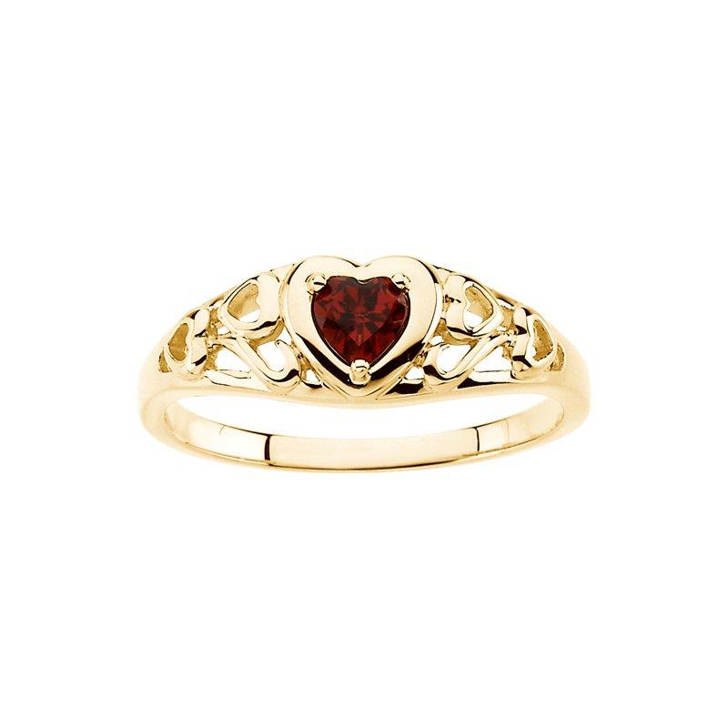 Ladies' Jewelry Genuine Heart-Shape Mozambique Garnet Ring