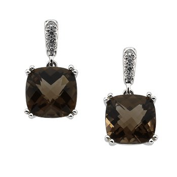 Genuine Checkerboard Smoky Quartz & Diamond Earrings