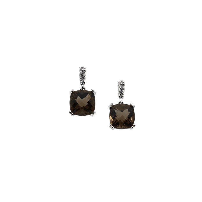 Ladies' Jewelry Genuine Checkerboard Smoky Quartz & Diamond Earrings