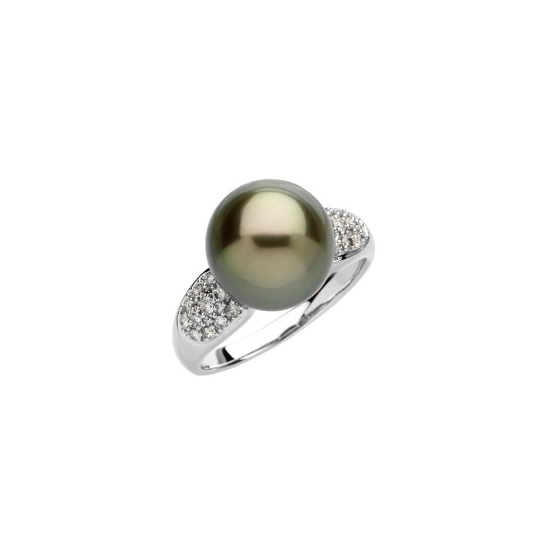 Ladies' Jewelry Tahitian Cultured Pearl & Diamond Ring
