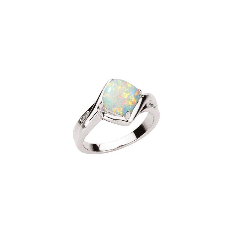 Holiday Ideas Genuine Opal & Diamond Ring