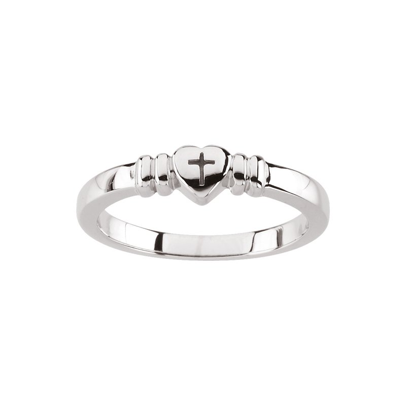 Religious Jewelry Heart with Cross Ring