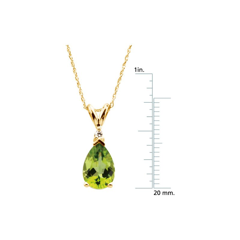 Ladies' Jewelry Genuine Peridot & Diamond Necklace