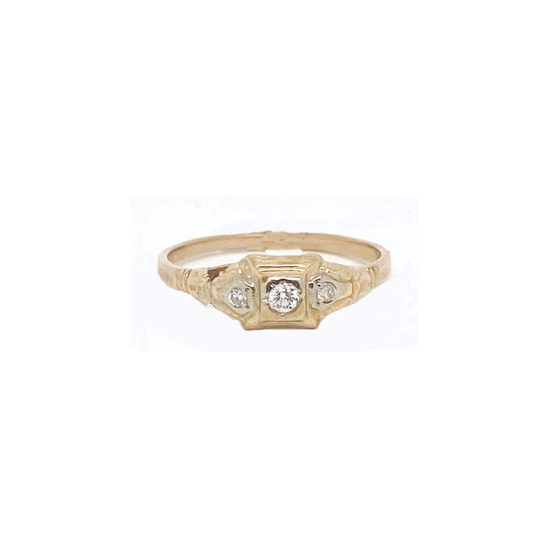 Vintage Bridal Diamond and Yellow Gold, Art Deco style ring