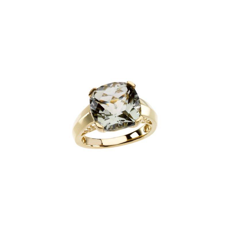 Ladies' Jewelry Genuine Checkerboard Green Quartz Ring