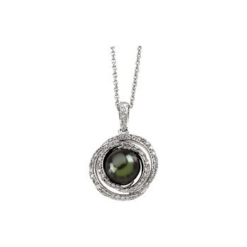 Tahitian Cultured Pearl & Diamond Necklace