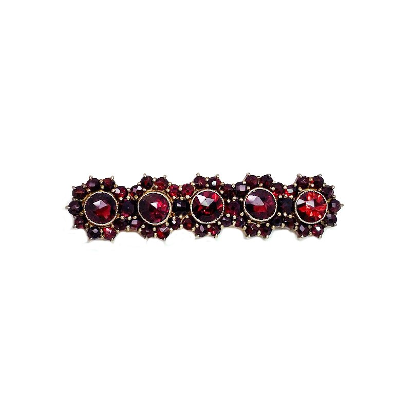 Estate & Vintage Lady's vintage style garnet and gold and silver tone bar brooch