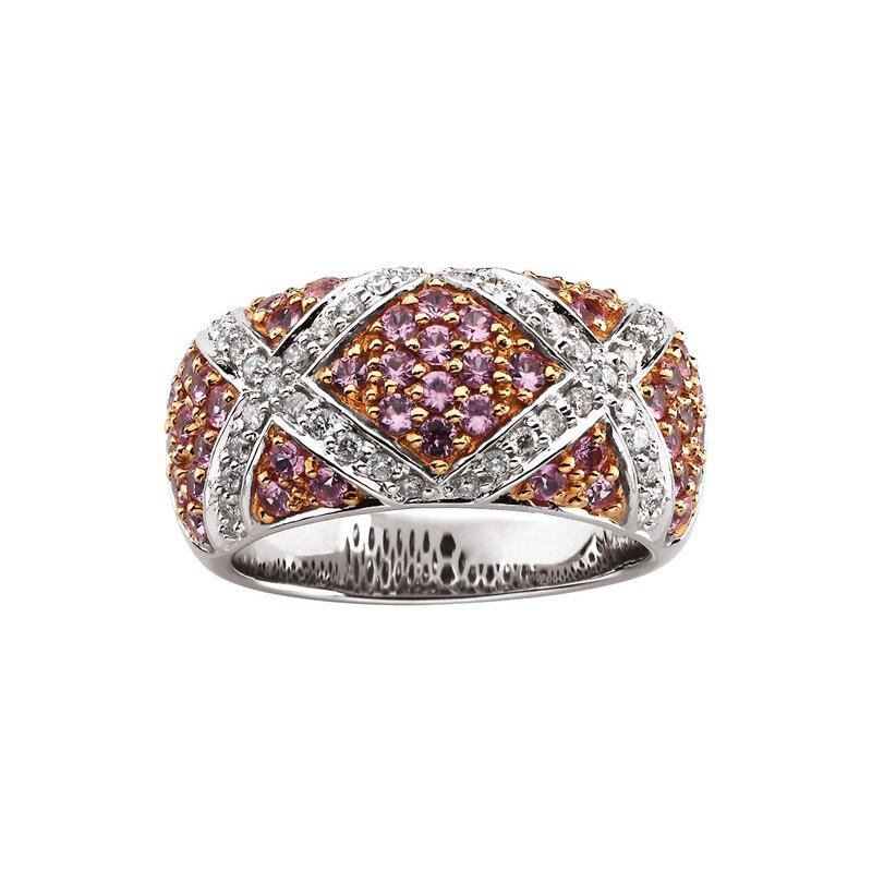 Ladies' Jewelry Genuine Pink Sapphire & Diamond Ring