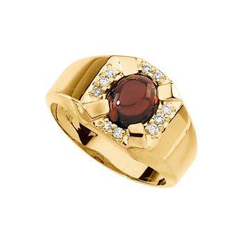 Men's Genuine Mozambique Garnet & Diamond Ring