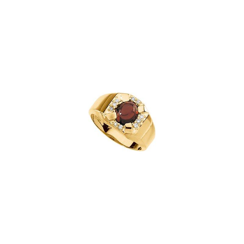 Men's Jewelry Men's Genuine Mozambique Garnet & Diamond Ring