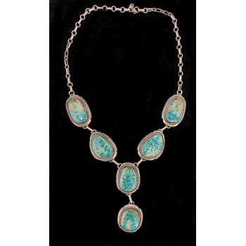 Vintage Native American sterling silver and Turquoise necklace