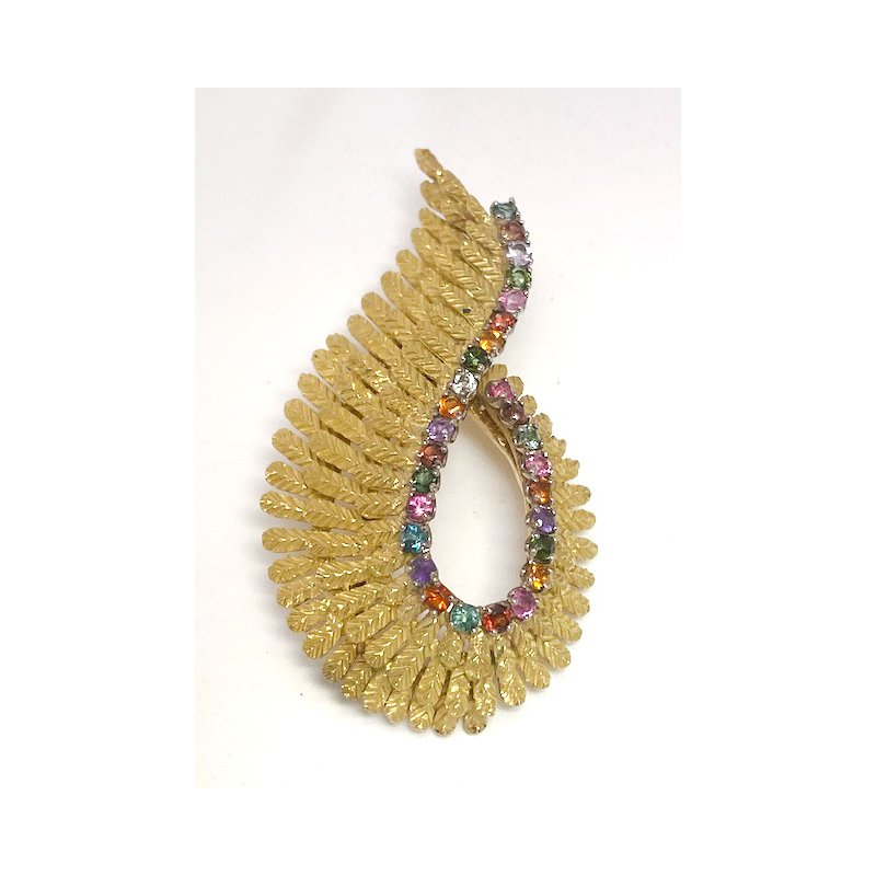 Estate & Vintage Lady's vintage Retro design, multi stone, yellow and white gold brooch