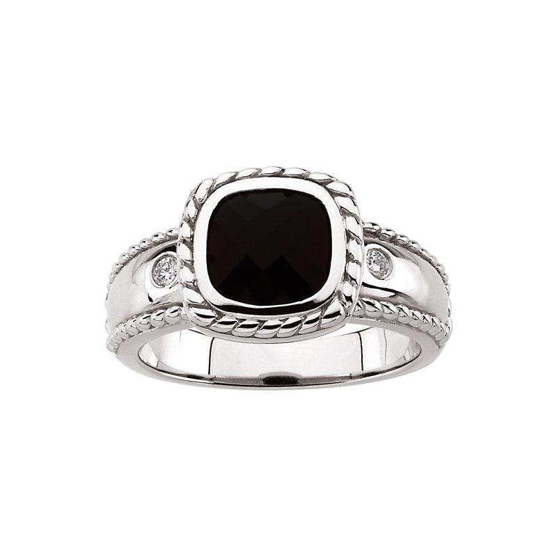 Ladies' Jewelry Genuine Onyx & Diamond Ring
