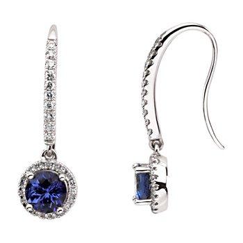 Genuine Tanzanite & Diamond Earrings
