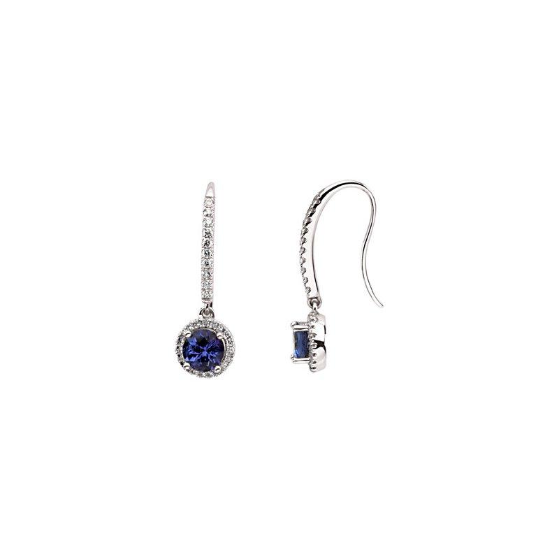 Ladies' Jewelry Genuine Tanzanite & Diamond Earrings