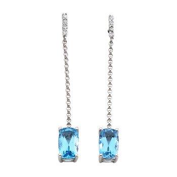 Genuine Swiss Blue Topaz & Diamond Earrings