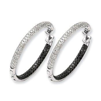 14k White Gold Black and White Diamond Hinged Hoop Earrings