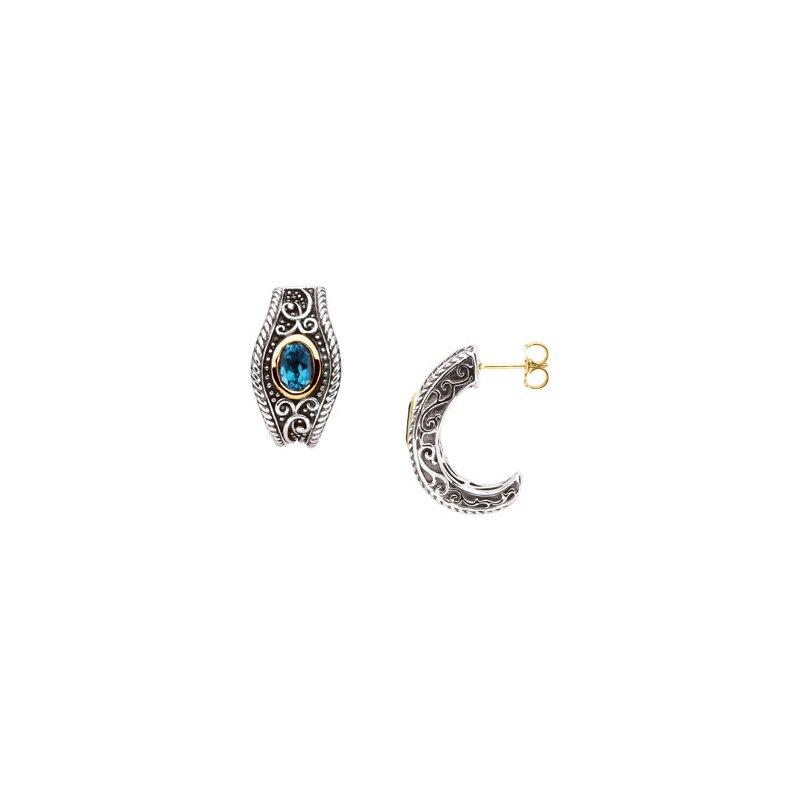 Ladies' Jewelry Genuine Swiss Blue Topaz Earrings