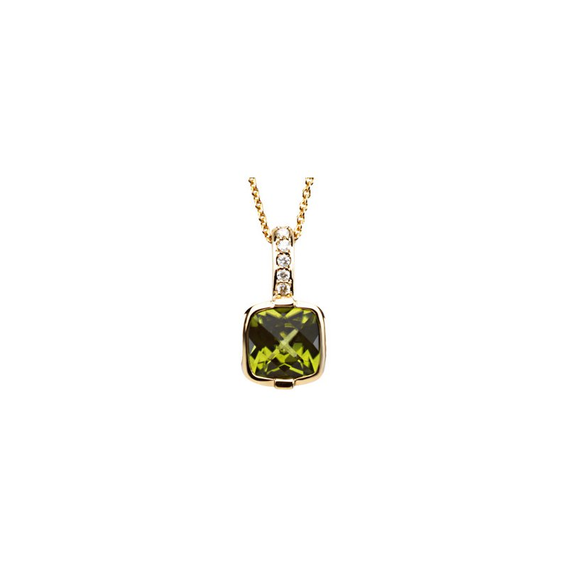 Ladies' Jewelry Genuine Checkerboard Peridot & Diamond Necklace