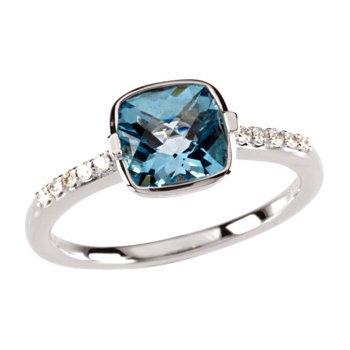 Genuine Checkerboard Swiss Blue Topaz & Diamond Ring