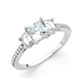 Semi-Mount Three-Stone Engagement Ring with Trapezoid Side Stones