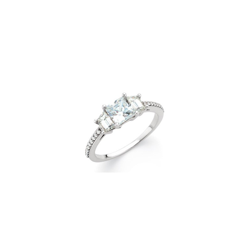 Holiday Ideas Semi-Mount Three-Stone Engagement Ring with Trapezoid Side Stones