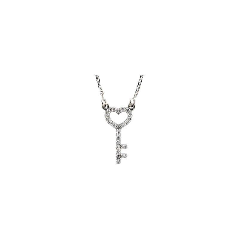 Ladies' Jewelry Diamond Skeleton Key Necklace